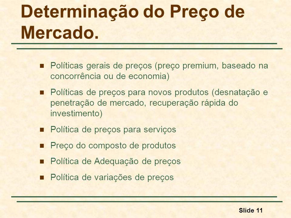 Slide 11 Determinação do Preço de Mercado. Políticas gerais de preços (preço premium, baseado na concorrência ou de economia) Políticas de preços para