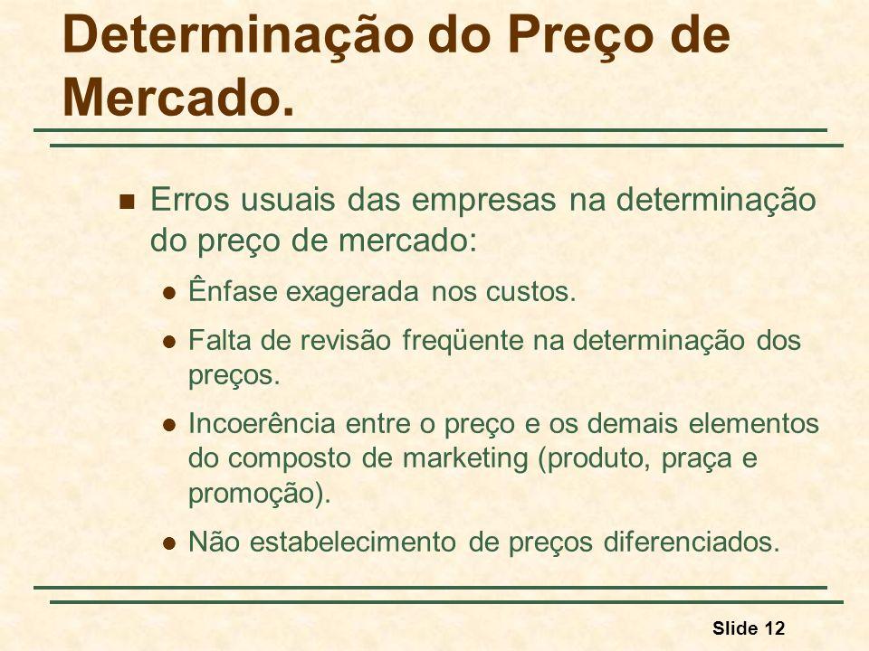 Slide 12 Determinação do Preço de Mercado. Erros usuais das empresas na determinação do preço de mercado: Ênfase exagerada nos custos. Falta de revisã