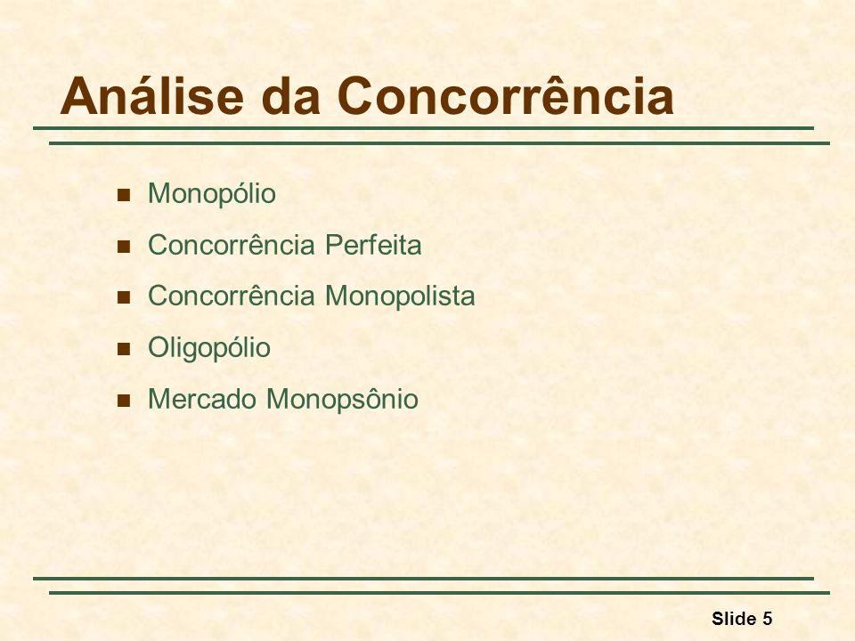 Slide 5 Análise da Concorrência Monopólio Concorrência Perfeita Concorrência Monopolista Oligopólio Mercado Monopsônio