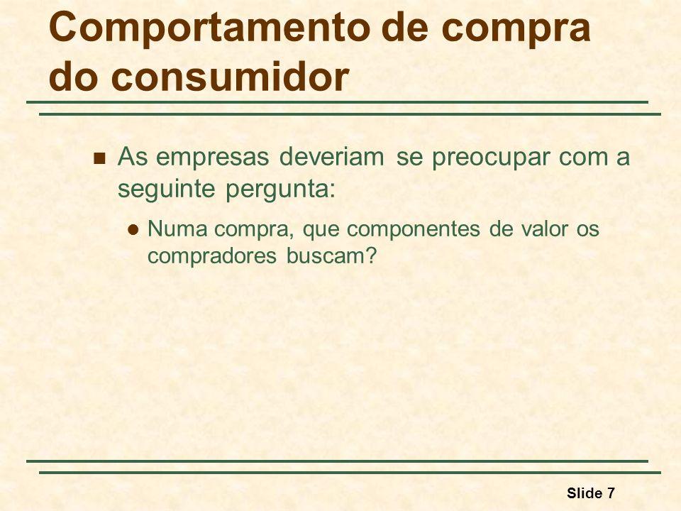 Slide 7 Comportamento de compra do consumidor As empresas deveriam se preocupar com a seguinte pergunta: Numa compra, que componentes de valor os comp