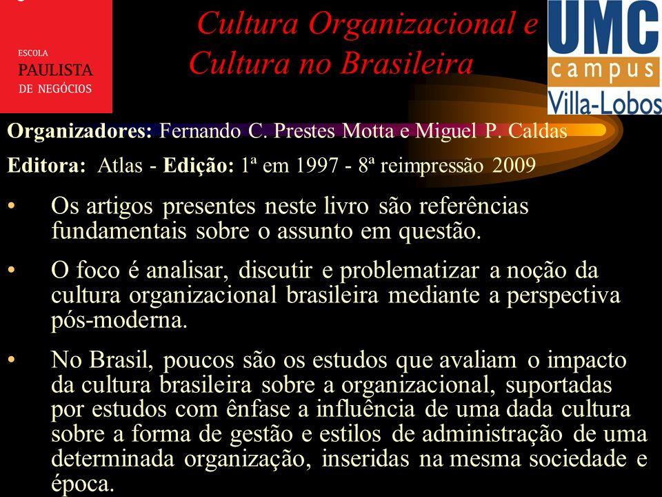 Cultura Organizacional Cultura Brasileira Cultura Brasileira O campo da cultura organizacional aportou no Brasil na década de 80.