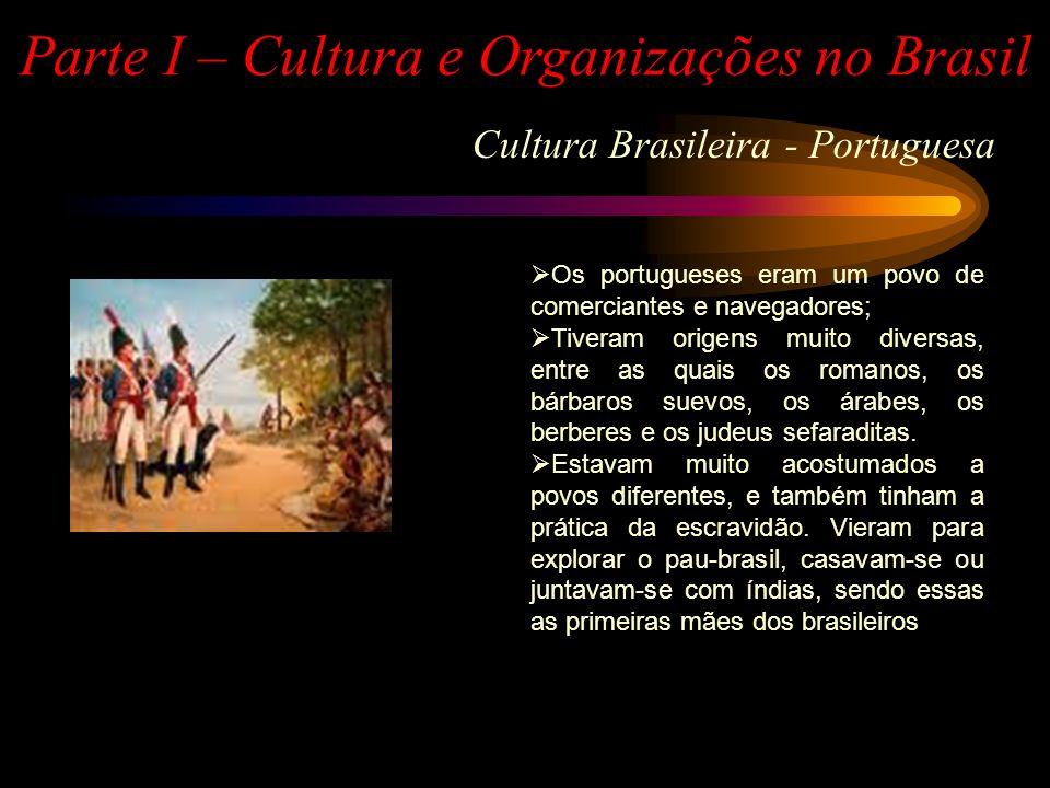 Cultura Brasileira - Africana Parte I – Cultura e Organizações no Brasil Os negros africanos eram basicamente de dois quadros étnicos e culturais: bantus e sudaneses; Suas culturas eram muito mais próximas da dos portugueses do que as culturas indígenas; Com frequência muçulmanos e alfabetizados, o que nem sempre acontecia com os portugueses; Conheciam a mineração do ferro, e a divisão do trabalho entre os sexos era mais próxima da dos portugueses; Os negros eram sempre escravos.