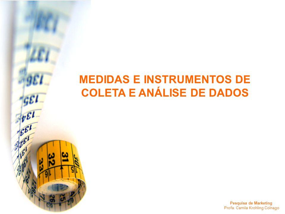 Pesquisa de Marketing Profa. Camila Krohling Colnago MEDIDAS E INSTRUMENTOS DE COLETA E ANÁLISE DE DADOS