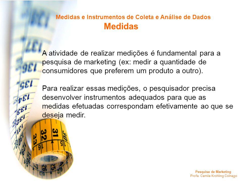 Pesquisa de Marketing Profa. Camila Krohling Colnago Medidas e Instrumentos de Coleta e Análise de Dados Medidas A atividade de realizar medições é fu