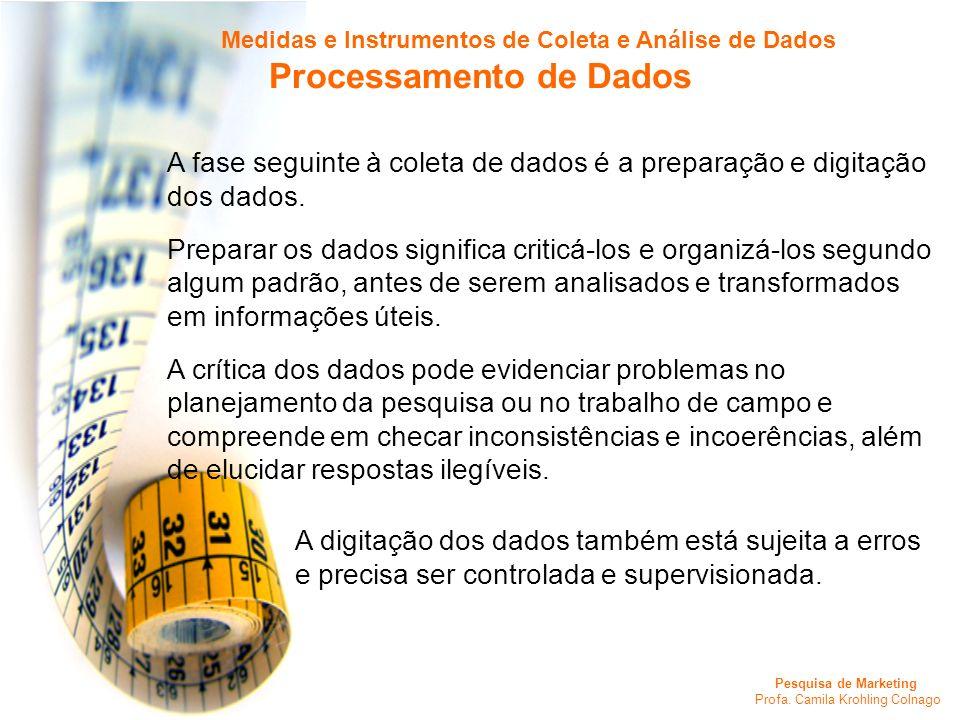 Pesquisa de Marketing Profa. Camila Krohling Colnago A fase seguinte à coleta de dados é a preparação e digitação dos dados. Preparar os dados signifi