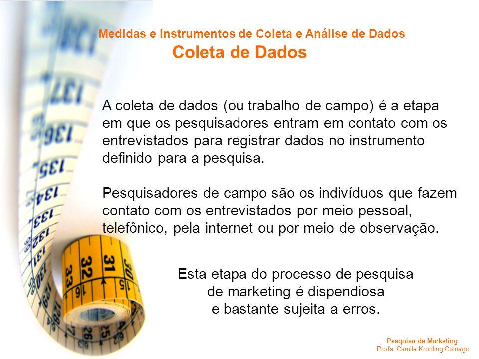 Pesquisa de Marketing Profa. Camila Krohling Colnago Medidas e Instrumentos de Coleta e Análise de Dados Coleta de Dados A coleta de dados (ou trabalh