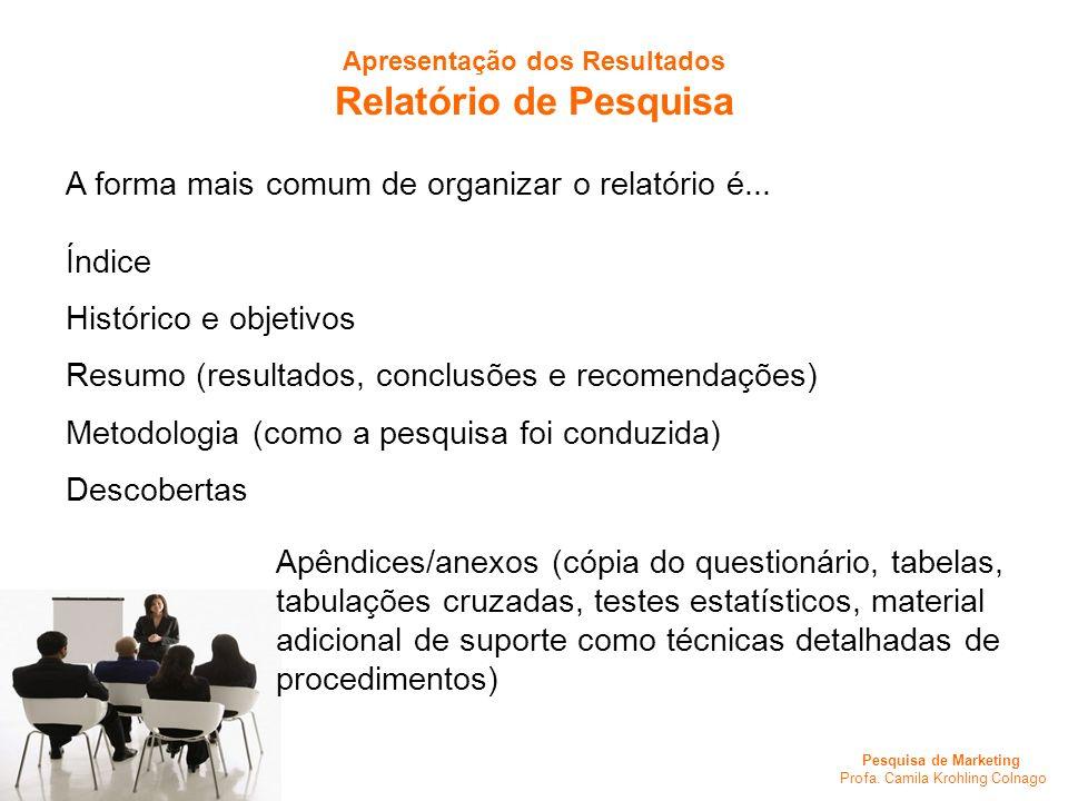 Pesquisa de Marketing Profa. Camila Krohling Colnago A forma mais comum de organizar o relatório é... Índice Histórico e objetivos Resumo (resultados,