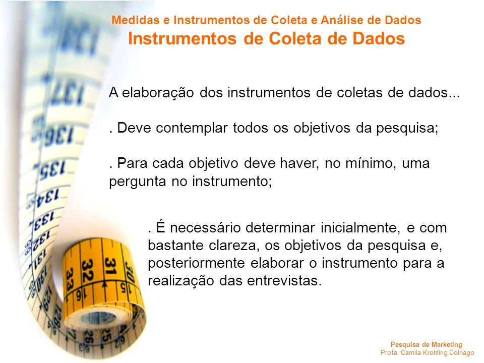 Pesquisa de Marketing Profa. Camila Krohling Colnago Medidas e Instrumentos de Coleta e Análise de Dados Instrumentos de Coleta de Dados A elaboração