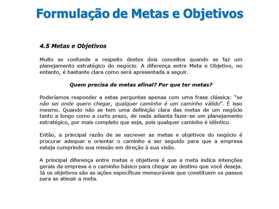 Formulação de Metas e Objetivos
