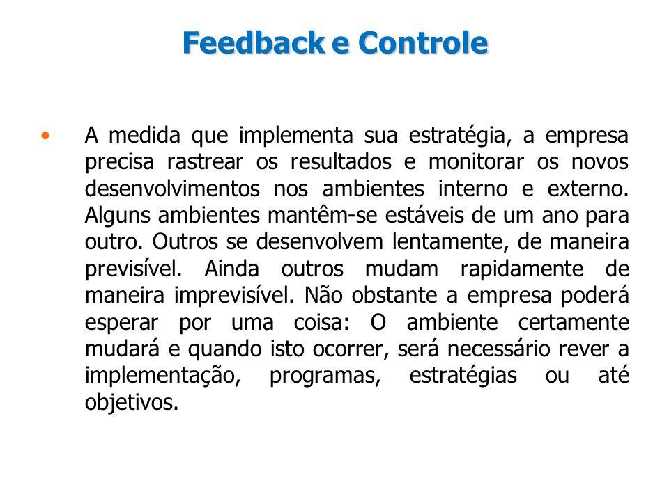 Feedback e Controle A medida que implementa sua estratégia, a empresa precisa rastrear os resultados e monitorar os novos desenvolvimentos nos ambient