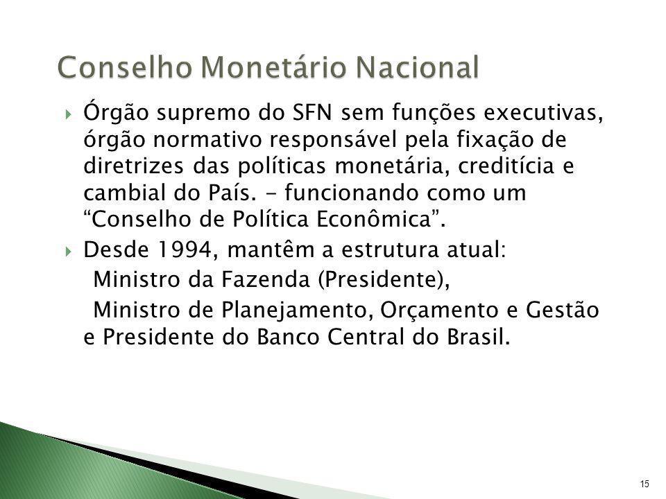 15 Órgão supremo do SFN sem funções executivas, órgão normativo responsável pela fixação de diretrizes das políticas monetária, creditícia e cambial d
