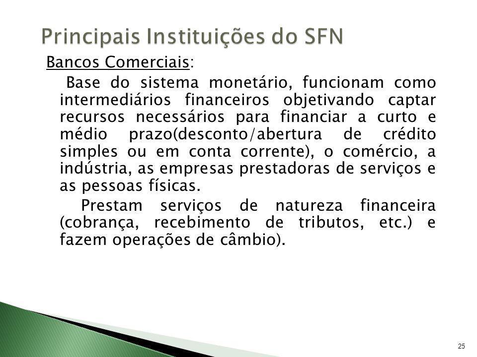25 Bancos Comerciais: Base do sistema monetário, funcionam como intermediários financeiros objetivando captar recursos necessários para financiar a cu