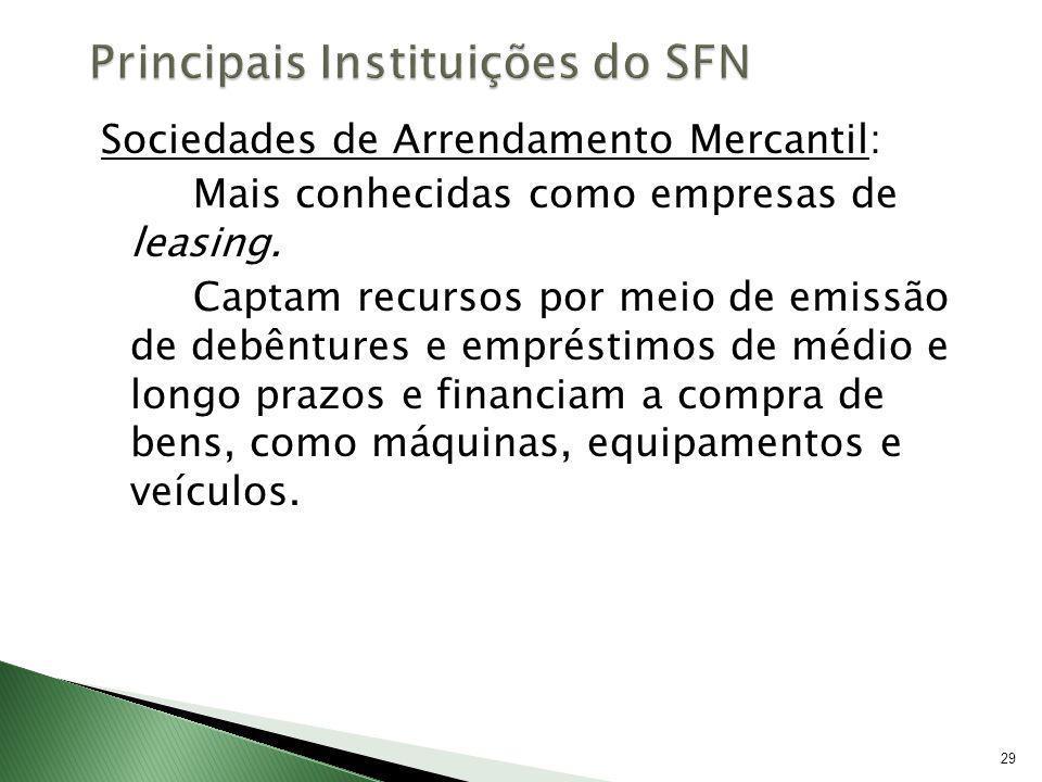29 Sociedades de Arrendamento Mercantil: Mais conhecidas como empresas de leasing. Captam recursos por meio de emissão de debêntures e empréstimos de