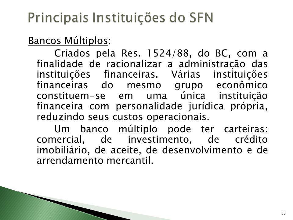 30 Bancos Múltiplos: Criados pela Res. 1524/88, do BC, com a finalidade de racionalizar a administração das instituições financeiras. Várias instituiç