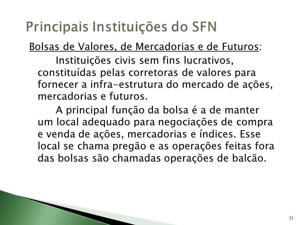 31 Bolsas de Valores, de Mercadorias e de Futuros: Instituições civis sem fins lucrativos, constituídas pelas corretoras de valores para fornecer a in