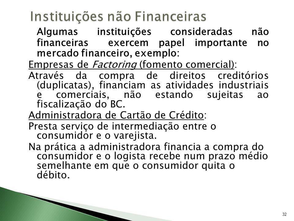 32 Algumas instituições consideradas não financeiras exercem papel importante no mercado financeiro, exemplo: Empresas de Factoring (fomento comercial