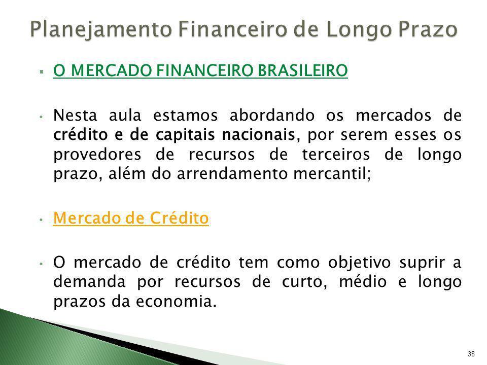 O MERCADO FINANCEIRO BRASILEIRO Nesta aula estamos abordando os mercados de crédito e de capitais nacionais, por serem esses os provedores de recursos