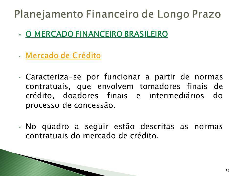O MERCADO FINANCEIRO BRASILEIRO Mercado de Crédito Caracteriza-se por funcionar a partir de normas contratuais, que envolvem tomadores finais de crédi