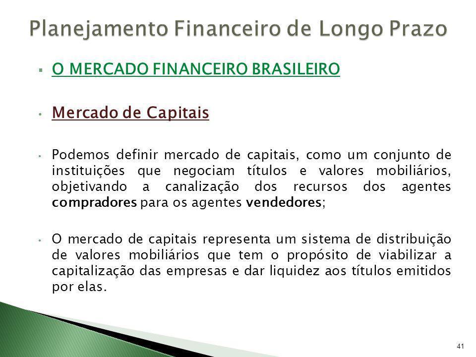 O MERCADO FINANCEIRO BRASILEIRO Mercado de Capitais Podemos definir mercado de capitais, como um conjunto de instituições que negociam títulos e valor
