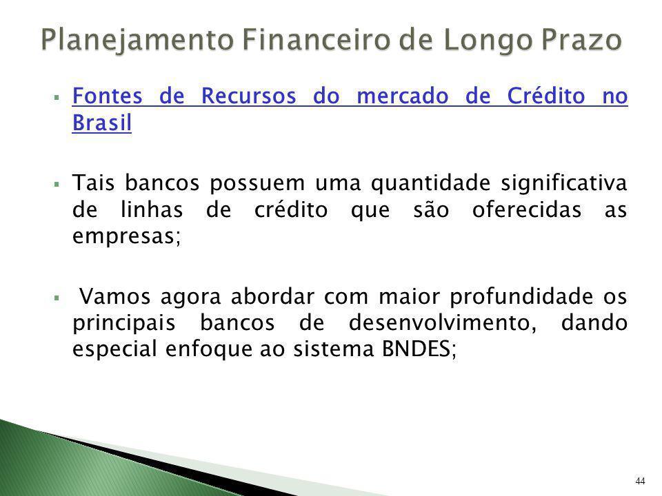 Fontes de Recursos do mercado de Crédito no Brasil Tais bancos possuem uma quantidade significativa de linhas de crédito que são oferecidas as empresa