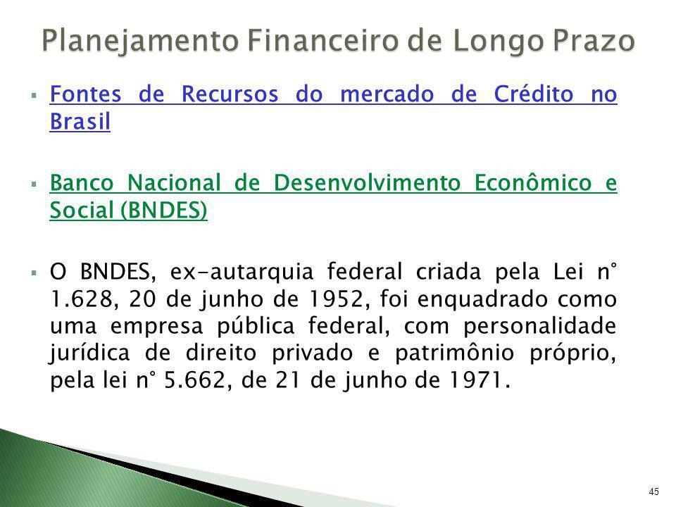 Fontes de Recursos do mercado de Crédito no Brasil Banco Nacional de Desenvolvimento Econômico e Social (BNDES) O BNDES, ex-autarquia federal criada p