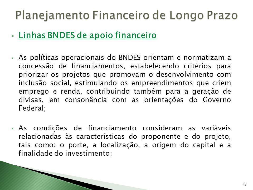 Linhas BNDES de apoio financeiro As políticas operacionais do BNDES orientam e normatizam a concessão de financiamentos, estabelecendo critérios para
