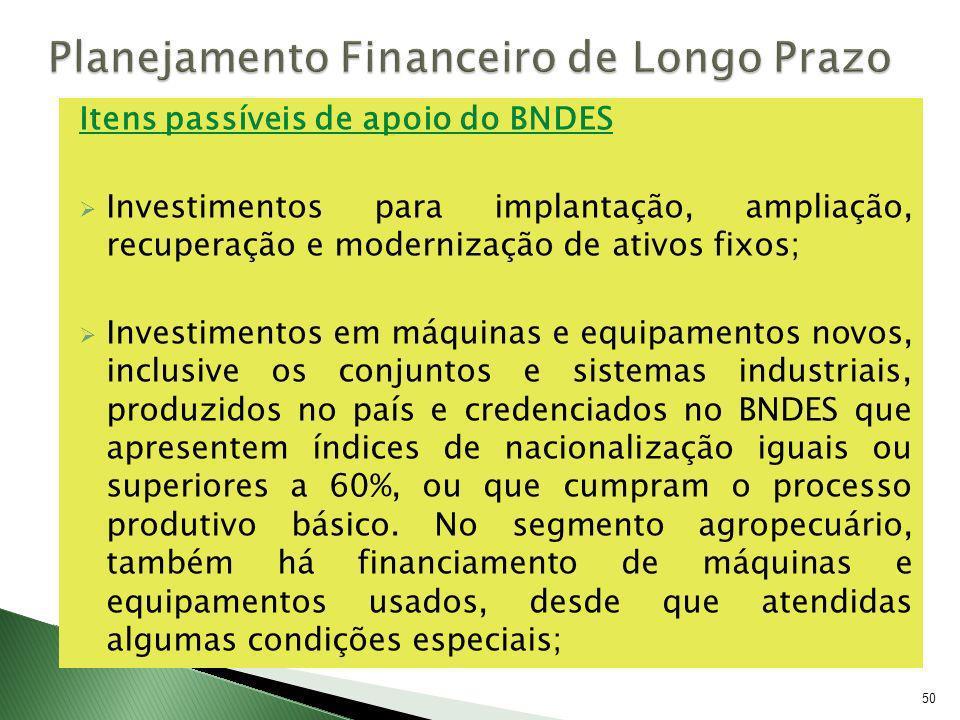 Itens passíveis de apoio do BNDES Investimentos para implantação, ampliação, recuperação e modernização de ativos fixos; Investimentos em máquinas e e