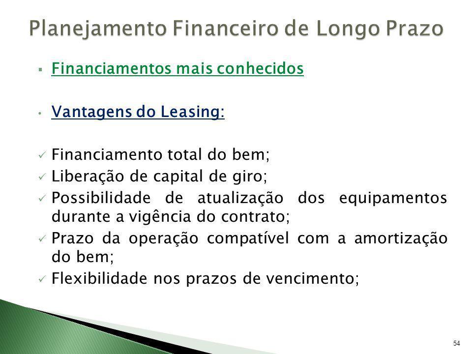 Financiamentos mais conhecidos Vantagens do Leasing: Financiamento total do bem; Liberação de capital de giro; Possibilidade de atualização dos equipa