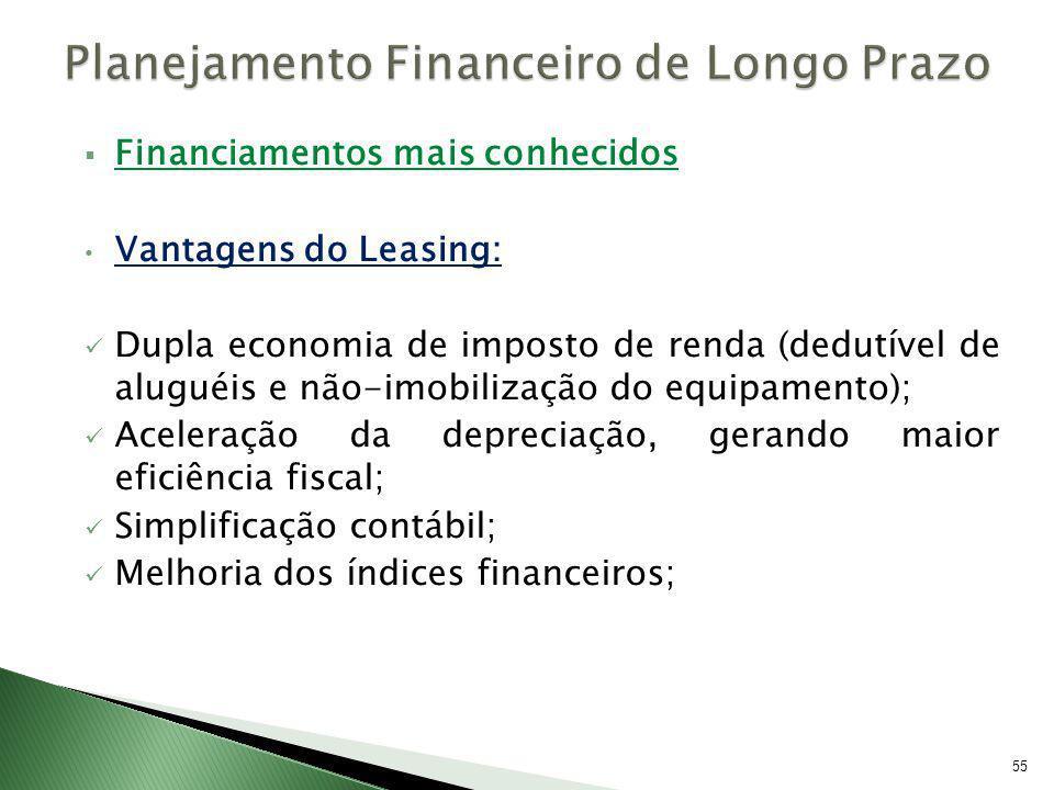 Financiamentos mais conhecidos Vantagens do Leasing: Dupla economia de imposto de renda (dedutível de aluguéis e não-imobilização do equipamento); Ace
