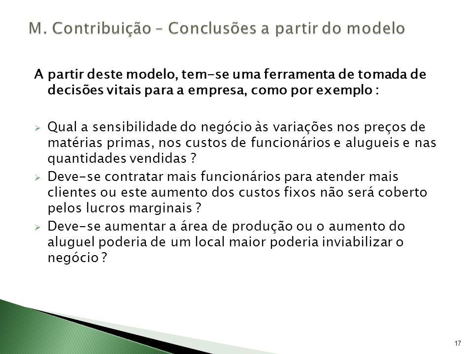 17 A partir deste modelo, tem-se uma ferramenta de tomada de decisões vitais para a empresa, como por exemplo : Qual a sensibilidade do negócio às var