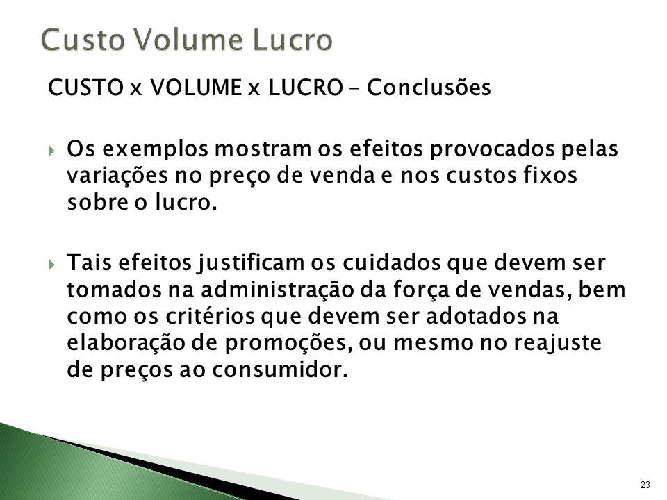 23 CUSTO x VOLUME x LUCRO – Conclusões Os exemplos mostram os efeitos provocados pelas variações no preço de venda e nos custos fixos sobre o lucro. T