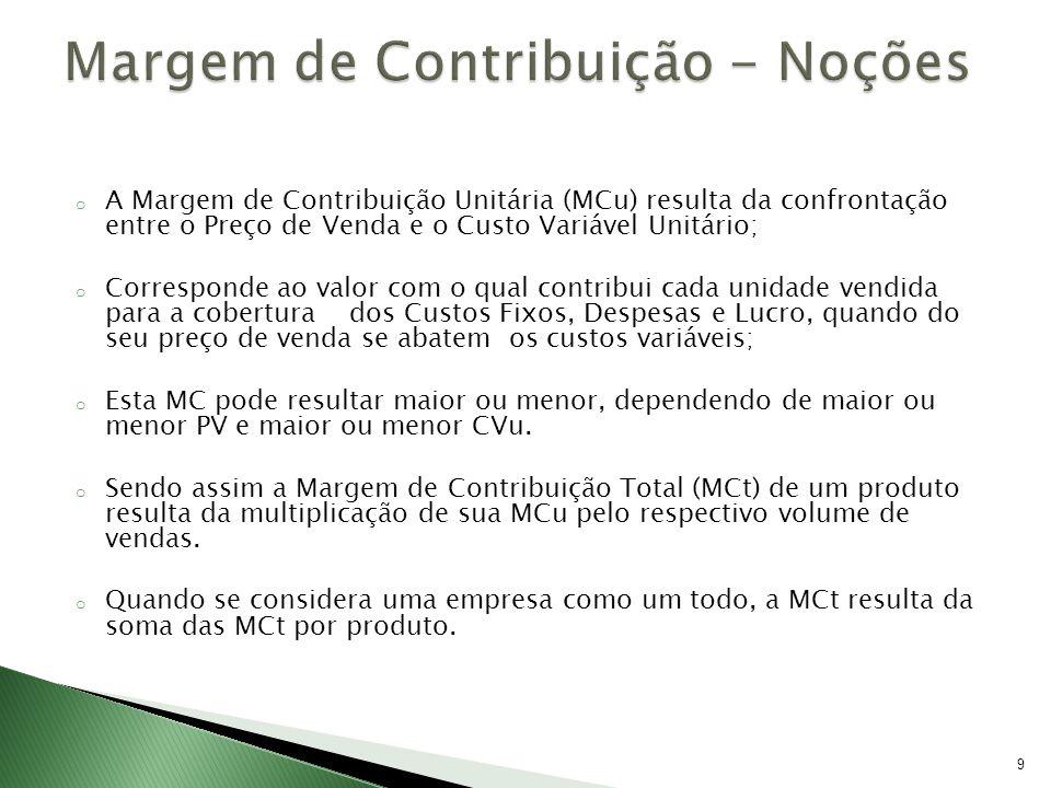 9 o A Margem de Contribuição Unitária (MCu) resulta da confrontação entre o Preço de Venda e o Custo Variável Unitário; o Corresponde ao valor com o q