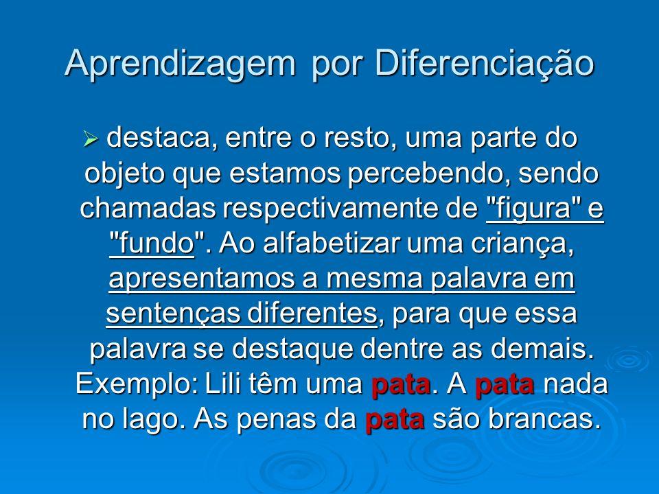 Aprendizagem por Diferenciação destaca, entre o resto, uma parte do objeto que estamos percebendo, sendo chamadas respectivamente de