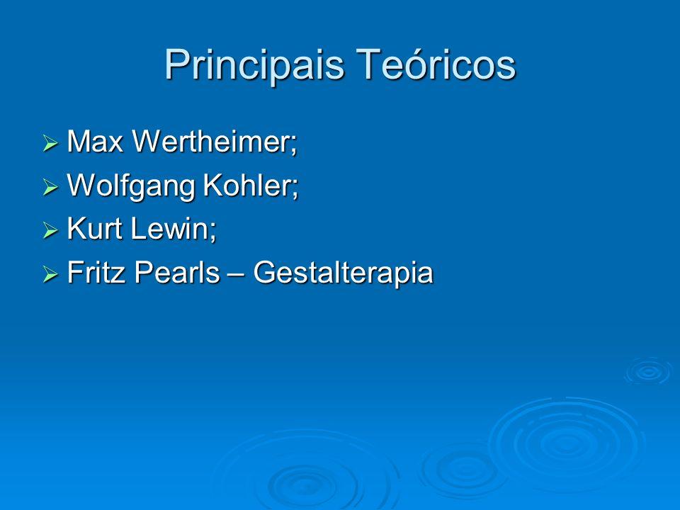 Principais Teóricos Max Wertheimer; Max Wertheimer; Wolfgang Kohler; Wolfgang Kohler; Kurt Lewin; Kurt Lewin; Fritz Pearls – Gestalterapia Fritz Pearl