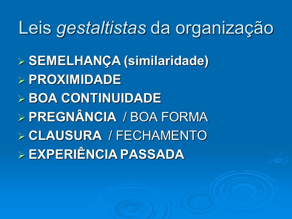 Leis gestaltistas da organização SEMELHANÇA (similaridade) SEMELHANÇA (similaridade) PROXIMIDADE PROXIMIDADE BOA CONTINUIDADE BOA CONTINUIDADE PREGNÂN