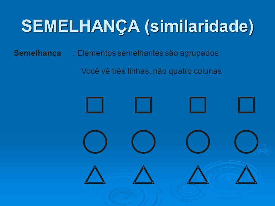 SEMELHANÇA (similaridade) Semelhança: Elementos semelhantes são agrupados Você vê três linhas, não quatro colunas