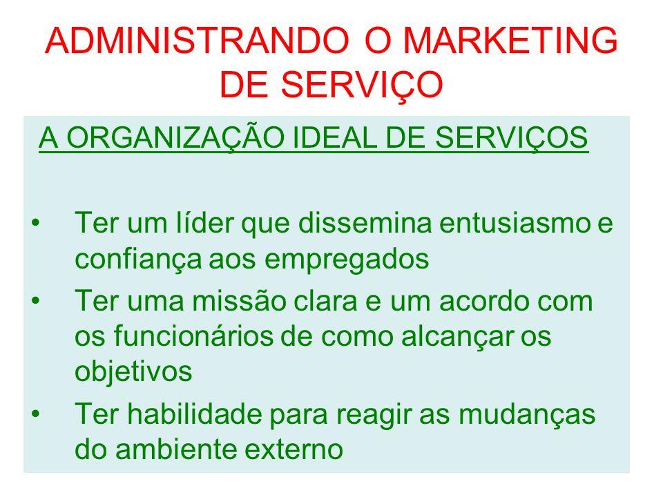 ADMINISTRANDO O MARKETING DE SERVIÇO A ORGANIZAÇÃO IDEAL DE SERVIÇOS Ter um líder que dissemina entusiasmo e confiança aos empregados Ter uma missão c