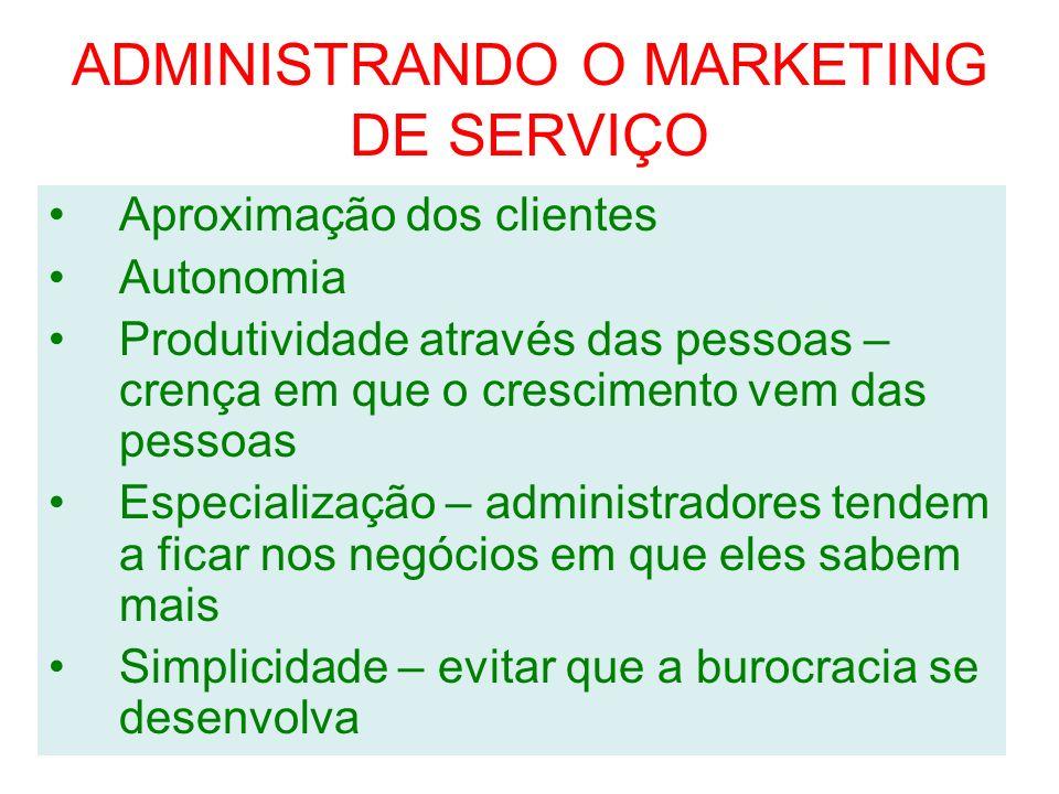 ADMINISTRANDO O MARKETING DE SERVIÇO Aproximação dos clientes Autonomia Produtividade através das pessoas – crença em que o crescimento vem das pessoa