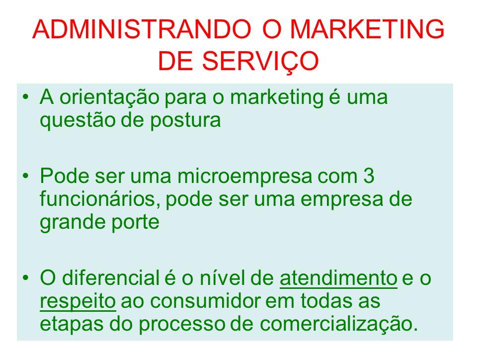 ADMINISTRANDO O MARKETING DE SERVIÇO A orientação para o marketing é uma questão de postura Pode ser uma microempresa com 3 funcionários, pode ser uma