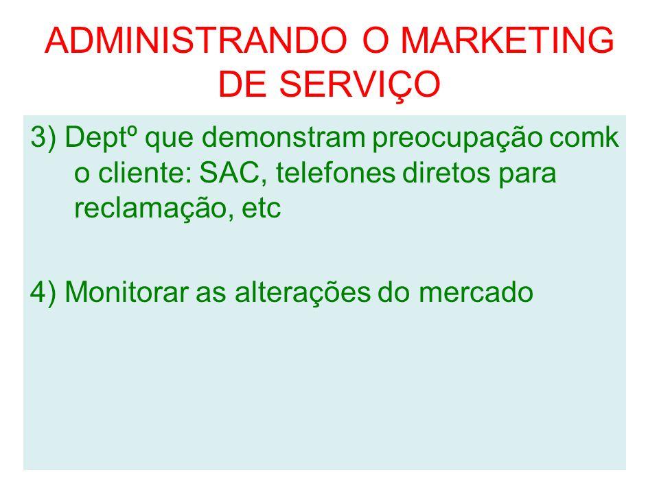 ADMINISTRANDO O MARKETING DE SERVIÇO 3) Deptº que demonstram preocupação comk o cliente: SAC, telefones diretos para reclamação, etc 4) Monitorar as a