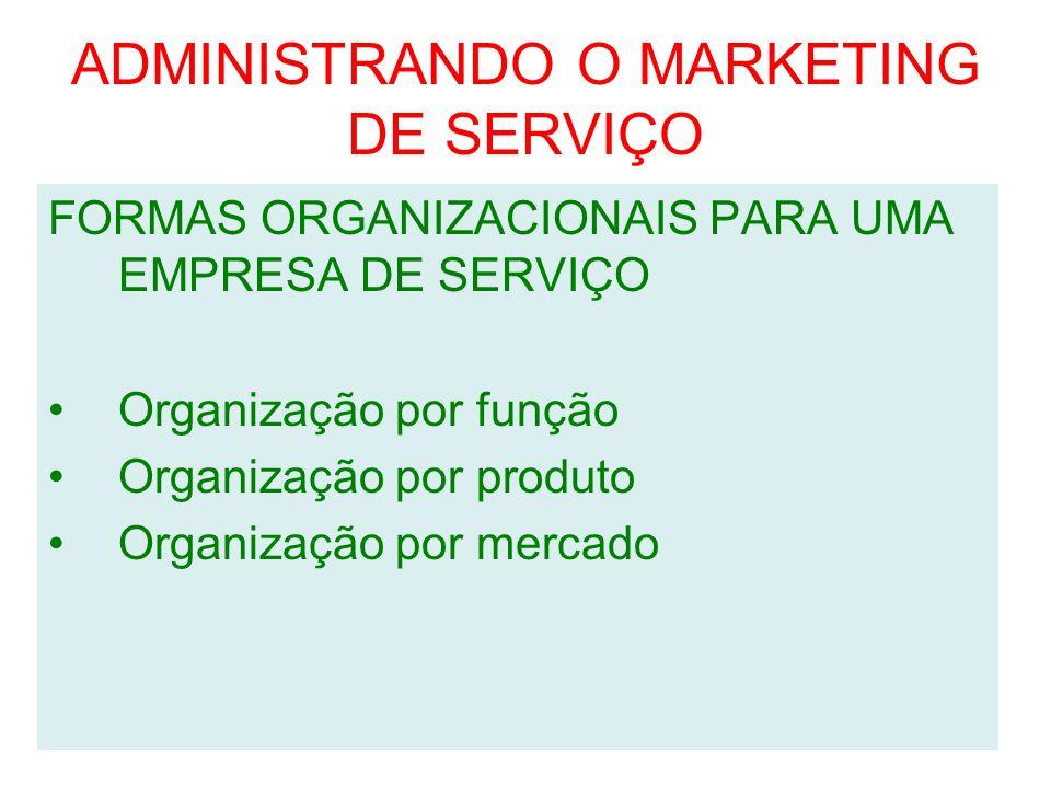 ADMINISTRANDO O MARKETING DE SERVIÇO FORMAS ORGANIZACIONAIS PARA UMA EMPRESA DE SERVIÇO Organização por função Organização por produto Organização por