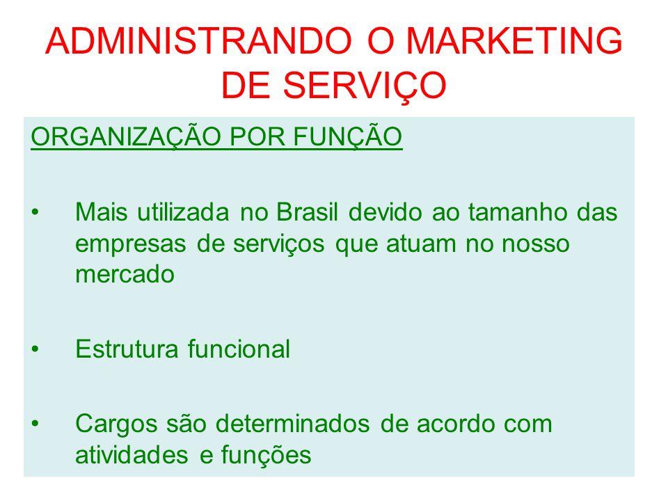ADMINISTRANDO O MARKETING DE SERVIÇO ORGANIZAÇÃO POR FUNÇÃO Mais utilizada no Brasil devido ao tamanho das empresas de serviços que atuam no nosso mer