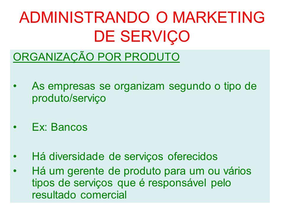 ADMINISTRANDO O MARKETING DE SERVIÇO ORGANIZAÇÃO POR MERCADO Semelhante ao anterior Há um gerente responsável por um divisão geográfica ou por uma visão de clientes