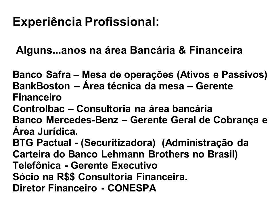 Experiência Profissional: Alguns...anos na área Bancária & Financeira Banco Safra – Mesa de operações (Ativos e Passivos) BankBoston – Área técnica da
