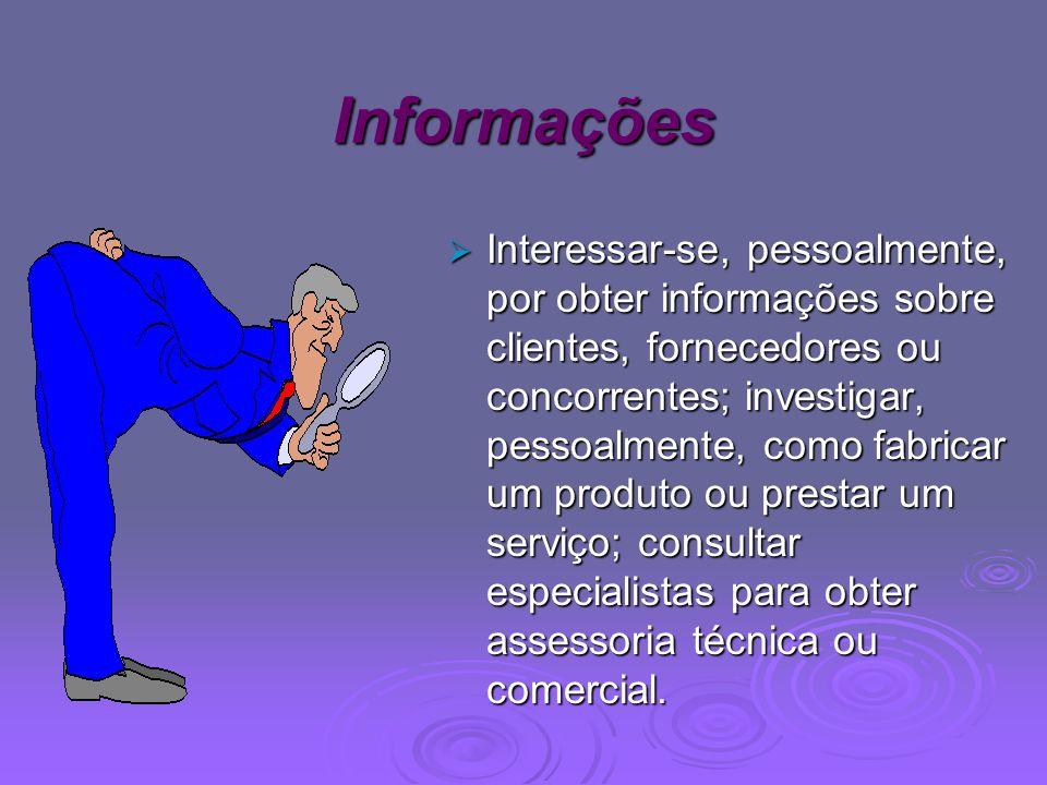 Informações Interessar-se, pessoalmente, por obter informações sobre clientes, fornecedores ou concorrentes; investigar, pessoalmente, como fabricar u