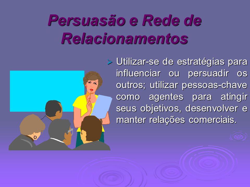 Persuasão e Rede de Relacionamentos Utilizar-se de estratégias para influenciar ou persuadir os outros; utilizar pessoas-chave como agentes para ating