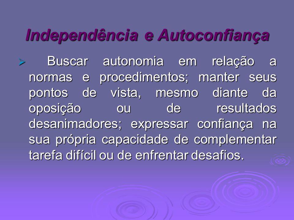 Independência e Autoconfiança Buscar autonomia em relação a normas e procedimentos; manter seus pontos de vista, mesmo diante da oposição ou de result