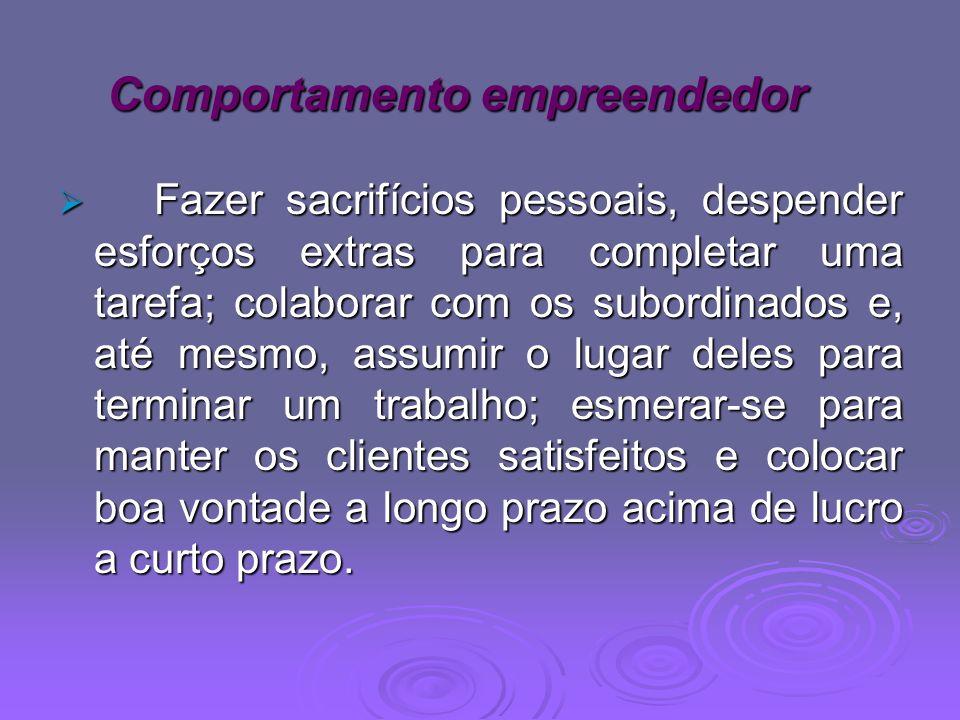 Comportamento empreendedor Fazer sacrifícios pessoais, despender esforços extras para completar uma tarefa; colaborar com os subordinados e, até mesmo