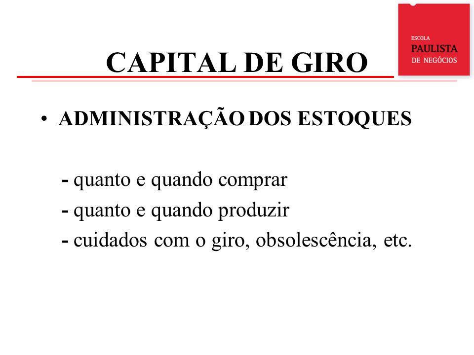 CAPITAL DE GIRO ADMINISTRAÇÃO DOS ESTOQUES - quanto e quando comprar - quanto e quando produzir - cuidados com o giro, obsolescência, etc.