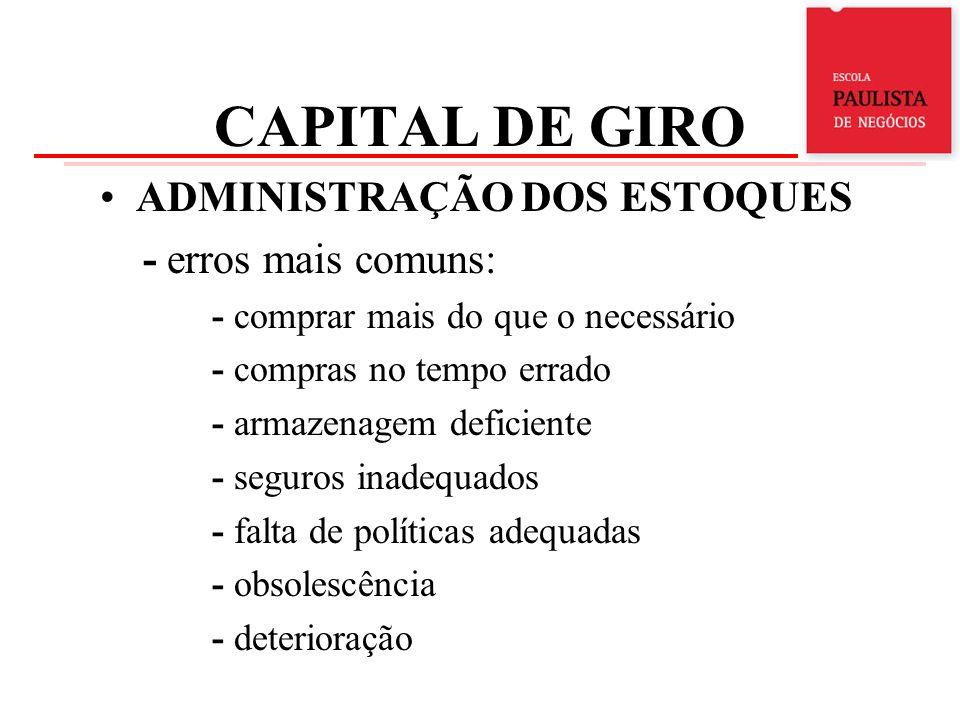 CAPITAL DE GIRO ADMINISTRAÇÃO DOS ESTOQUES - erros mais comuns: - comprar mais do que o necessário - compras no tempo errado - armazenagem deficiente